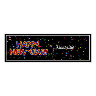 Happy New Year's Text with Confetti Double-Sided Mini Business Cards (Pack Of 20)