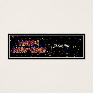 Happy New Year's Text with Confetti Mini Business Card
