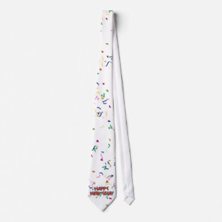 Happy New Year's Text with Confetti Tie