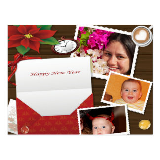 Happy New Year's with Holly Add Photos Postcard