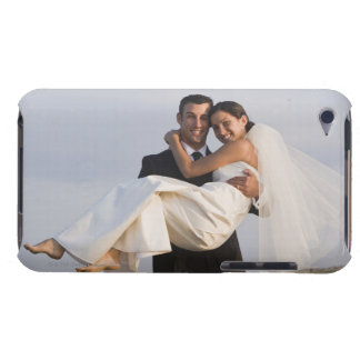 Happy newlyweds at beach iPod touch cover