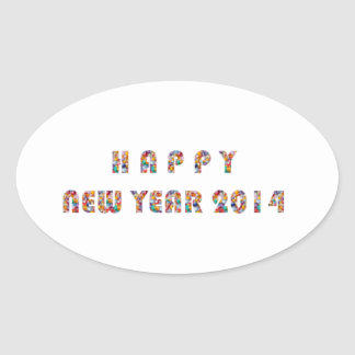 HAPPY NEWYEAR 2014 OVAL STICKER
