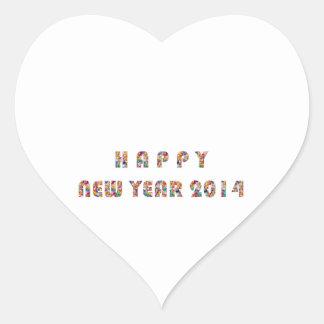 HAPPY NEWYEAR 2014 HEART STICKER