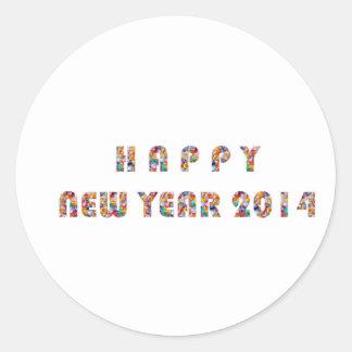 HAPPY NEWYEAR 2014 CLASSIC ROUND STICKER