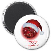 christmas, xmas, eve, happy, -holiday, art, mirror-ball, illustration, pop, cute, funny, stupid, graphic, music, red, santa, club, disco, Ímã com design gráfico personalizado