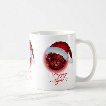 christmas, xmas, eve, happy, -holiday, art, mirror-ball, illustration, pop, cute, funny, stupid, graphic, music, red, santa, club, disco, Mug with custom graphic design