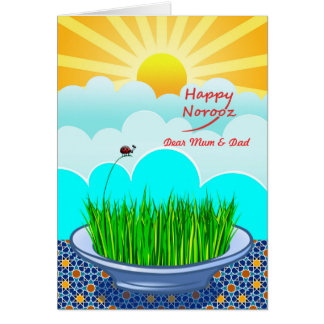 Happy Norooz for Mum and Dad, Custom Front, Sabzeh Card