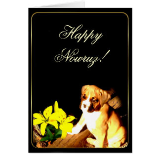 Happy Nowruz boxer puppy greeting card