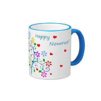 Happy Nowruz the Persian New Year, Bright Floral Ringer Coffee Mug