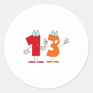 Happy Number 13 Classic Round Sticker