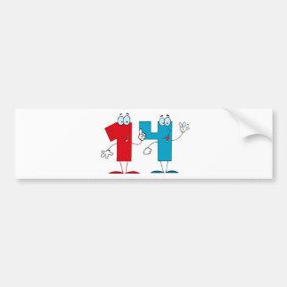 Happy Number 14 Bumper Sticker