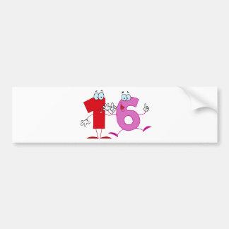Happy Number 16 Bumper Sticker