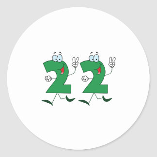 Happy Number 22 Classic Round Sticker