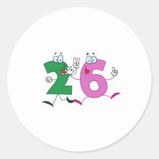 Happy Number 26 Classic Round Sticker