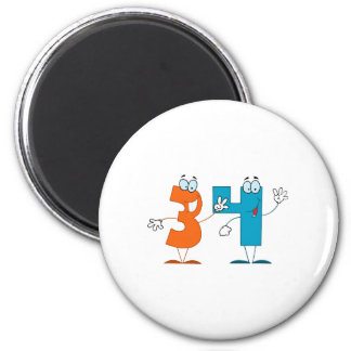 Happy Number 34 Refrigerator Magnets