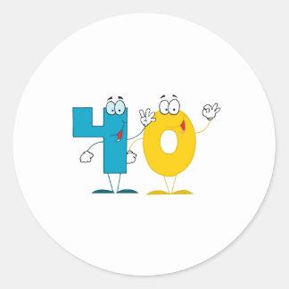 Happy Number 40 Classic Round Sticker