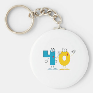 Happy Number 40 Keychain