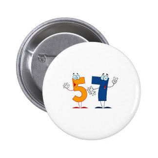 Happy Number 57 2 Inch Round Button