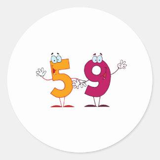 Happy Number 59 Round Stickers