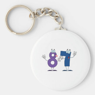 Happy Number 87 Key Chain