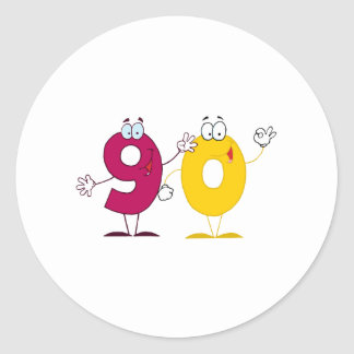 Happy Number 90 Classic Round Sticker