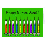 Happy Nurse Week Card Syringes Green