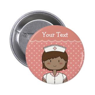 Happy nurse with short dark hair button
