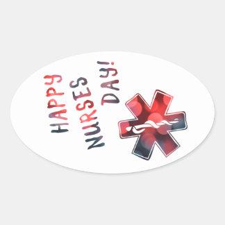 happy nurses day BOKEH Oval Sticker