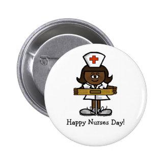 Happy Nurses Day Button - Female Brown Nurse