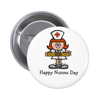 Happy Nurses Day Button  Female Nurse Red Hair