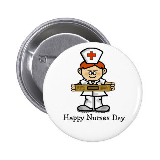 Happy Nurses Day Button  Male Nurse with Red Hair