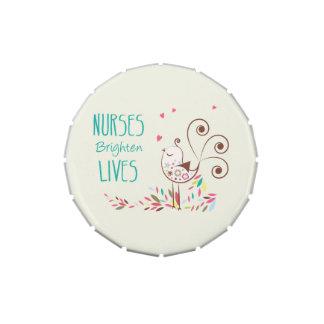 Happy Nurses Day, Cute Bird on Stripes Candy Tin