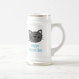 Happy Nurses Day for veterinary nurse with cat Beer Stein