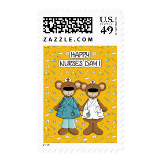 Happy Nurses Day. Funny Teddy Bears Postage Stamps
