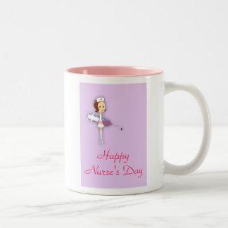 Happy Nurse's Day with nurse holding syringe Two-Tone Coffee Mug