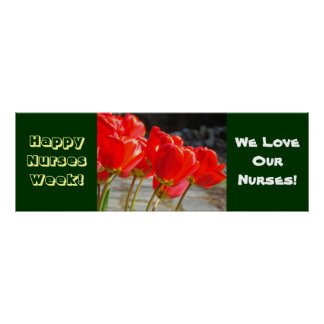 Happy Nurses Week Banner Posters Red Tulips