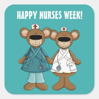 Happy Nurses Week. Funny Teddy Bears Gift Stickers