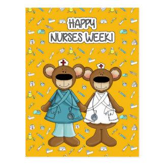 Happy Nurses Week. Funny Teddy Bears Postcards
