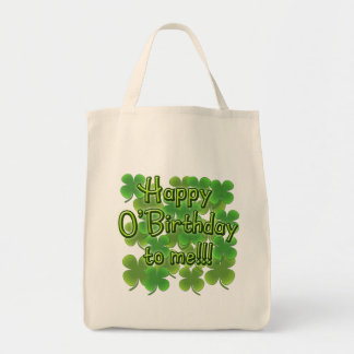 Happy O'Birthday to Me with Shamrocks Canvas Bags