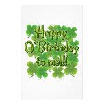 Happy O'Birthday to Me with Shamrocks Customized Stationery