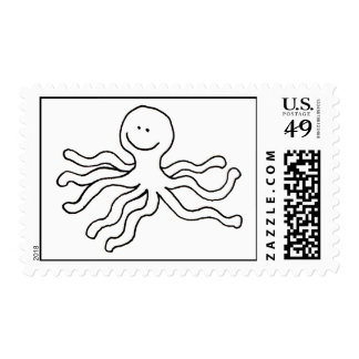 Happy octopus fun line drawing art logo design stamps