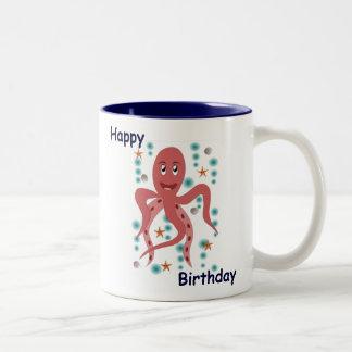 Happy Octopus Happy Birthday Two-Tone Coffee Mug