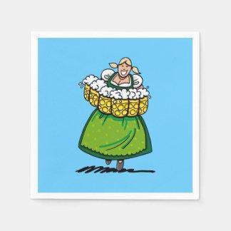Happy Oktoberfest Dirndl Waitress Beer Stein Paper Napkin
