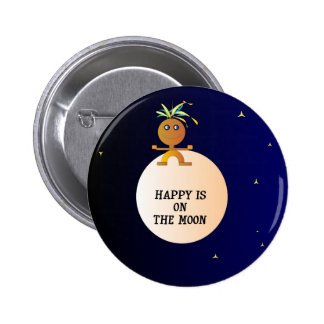 """""""Happy on the Moon"""" Childrens Buttons"""