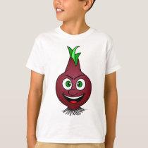 Happy Onion Vegan Vegetable Illustration T-Shirt