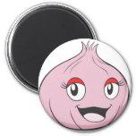 Happy Onion Vegetable Cartoon 2 Inch Round Magnet
