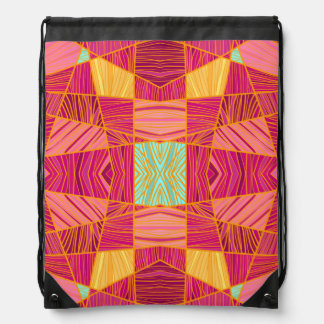 Happy Orange and Pink Pattern by KCS Drawstring Bag