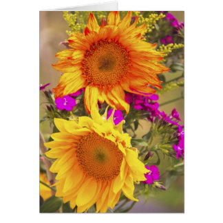 Happy Orange and Yellow Sunflowers greeting card
