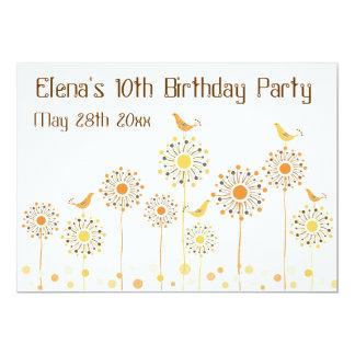 Happy Orange Birds Girls Birthday Invitation