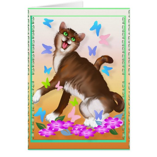 Happy Orange Cat and Soft Butterflies Greeting Card